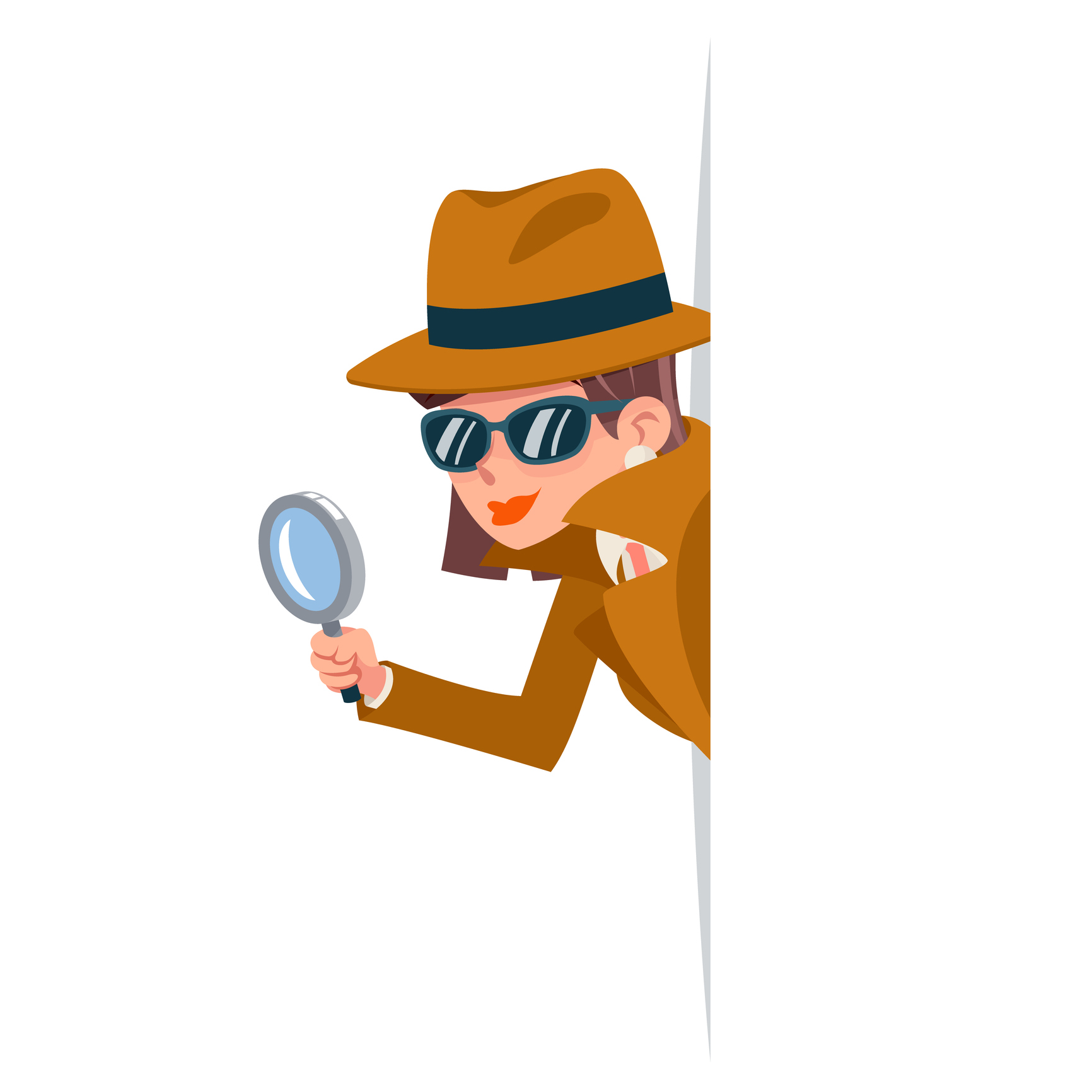 Illustration of a spy in trench coat with a magnifying glass by Meilun