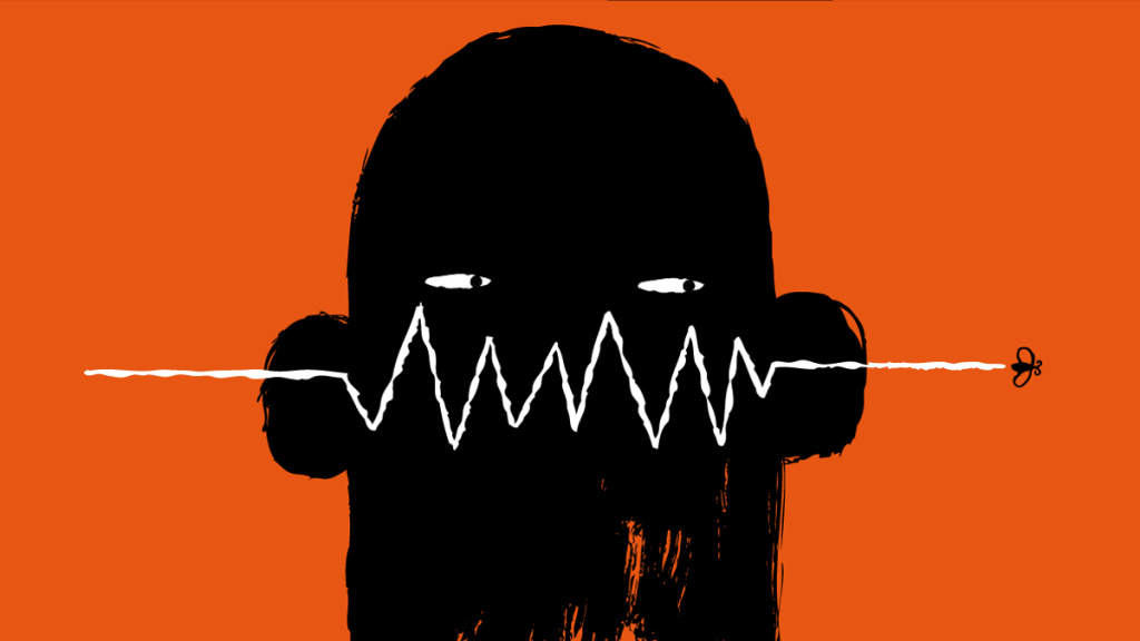 Illustration of person's head with data throughline