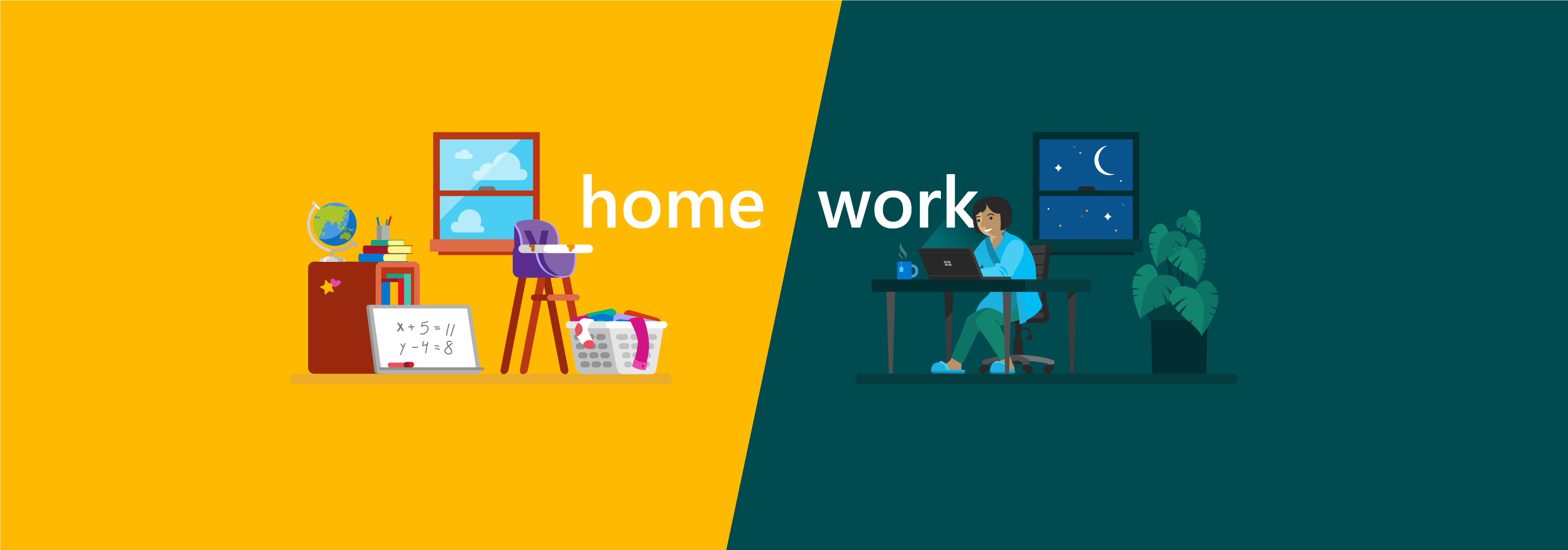 Illustration of a messy house and employee working at night represent work-life balance