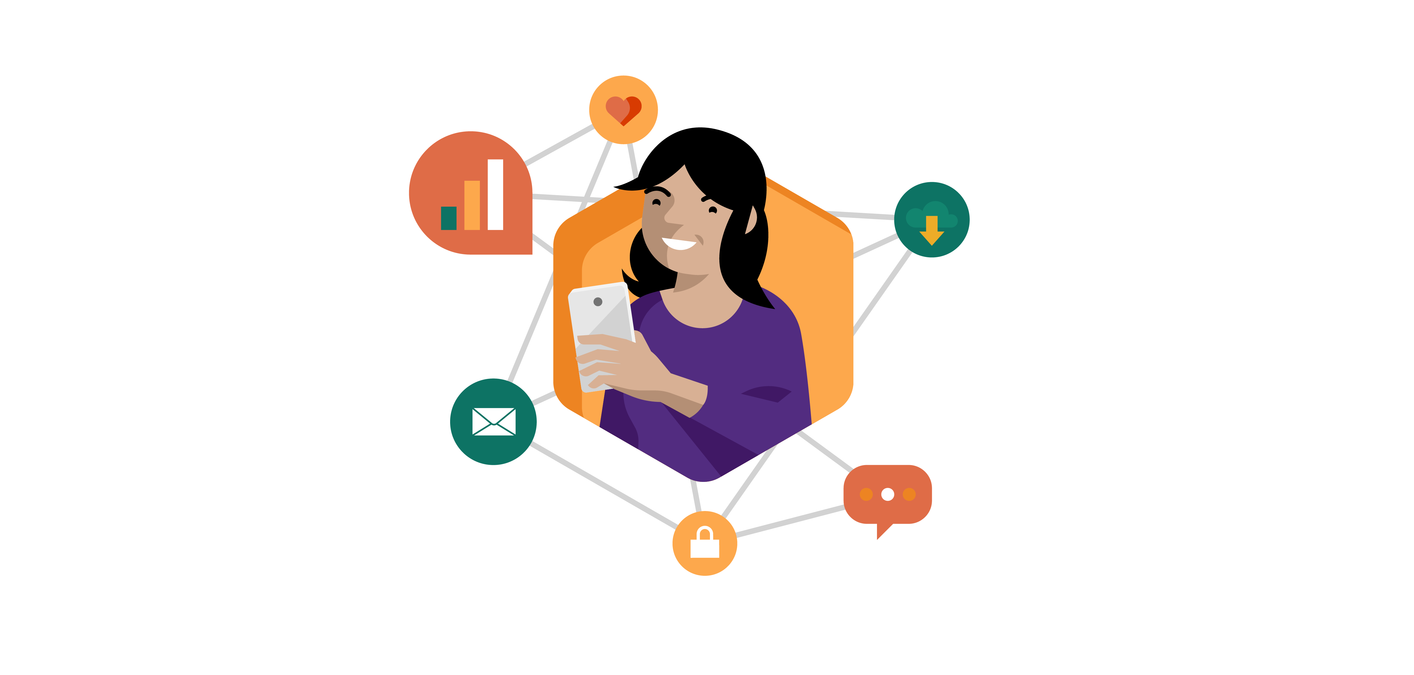 Illustration of a woman surrounded by a grid of apps