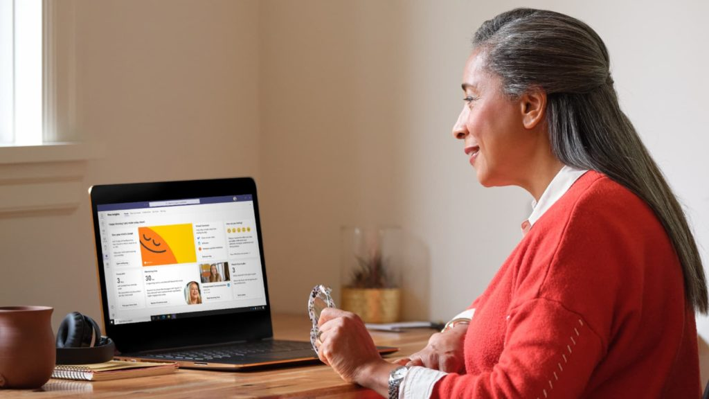 Woman at computer with Microsoft Teams open