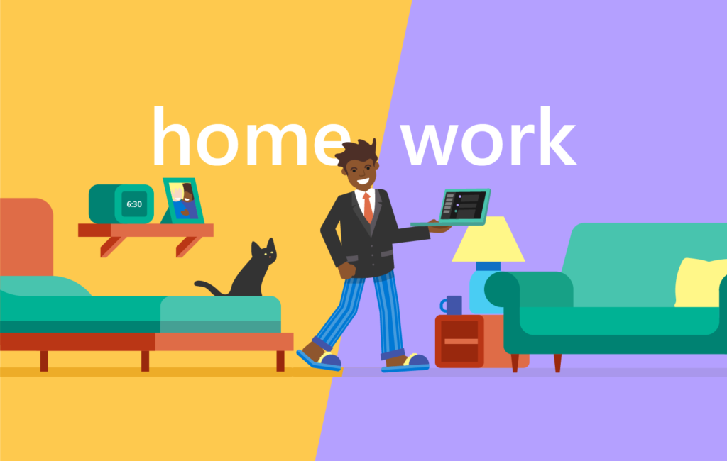 Illustration of an employee in pajama bottoms and a career jacket working remotely from home with the title
