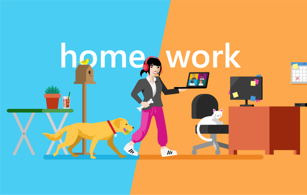 Illustration of a woman managing remote work with a dog, home office, and joining a Teams meeting on her computer with the words