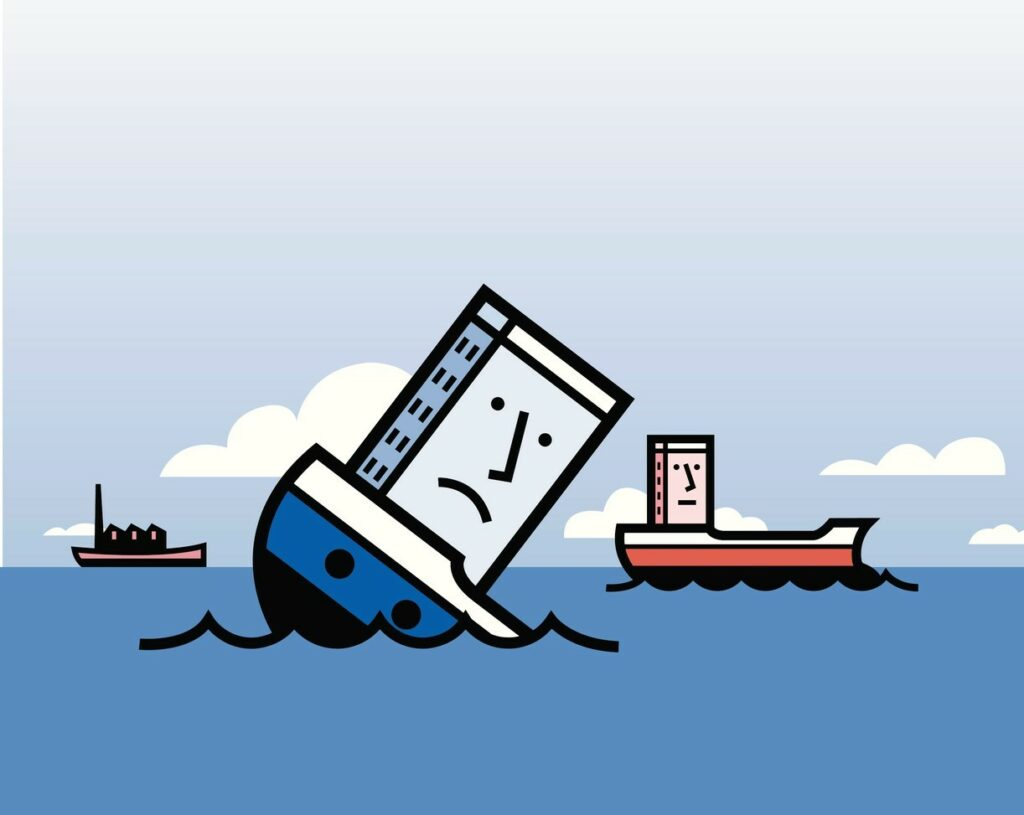 Corporate survival symbolized by an illustration of a sinking ship and a floating ship.