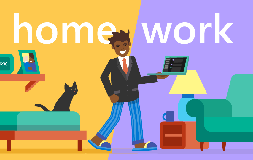 Illustration of an employee in pajama bottoms and a career jacket working from home with the title