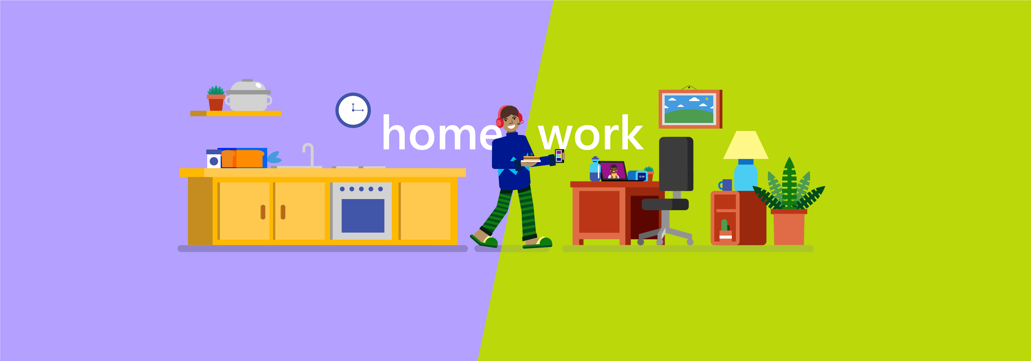 "Illustration of an employee working remotely and heading into a shorter meeting over lunch via video with the words ""Home Work"" in background"