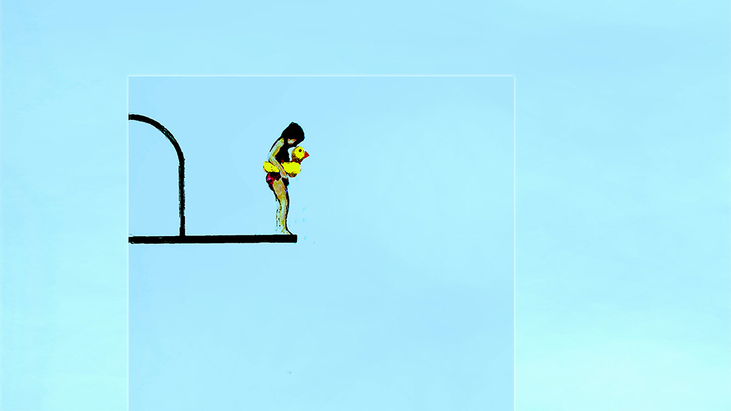 Illustration of girl in waist floaty on high diving board