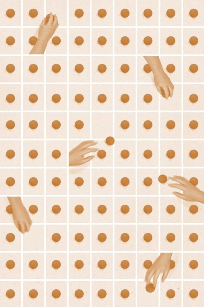 Illustration of hands on a background of dots