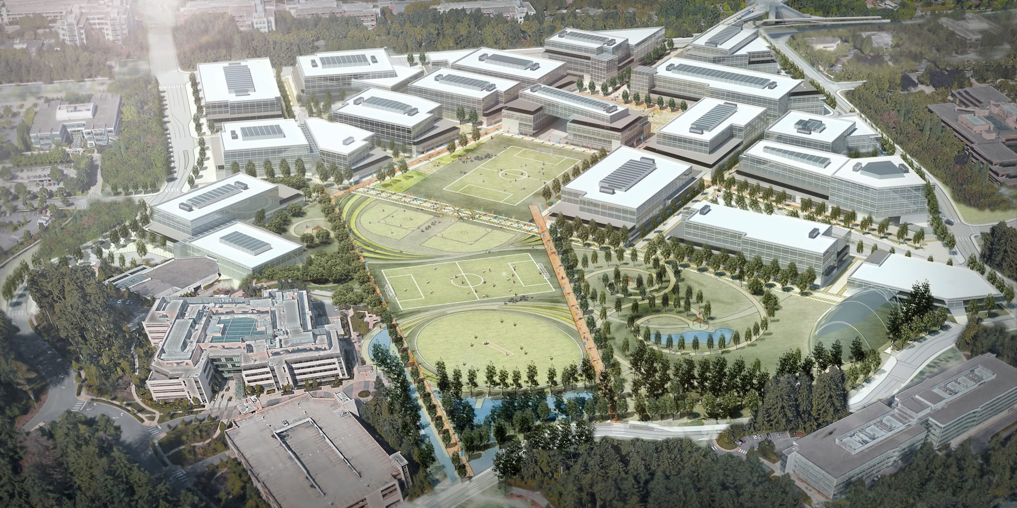 Aerial view of Microsoft campus