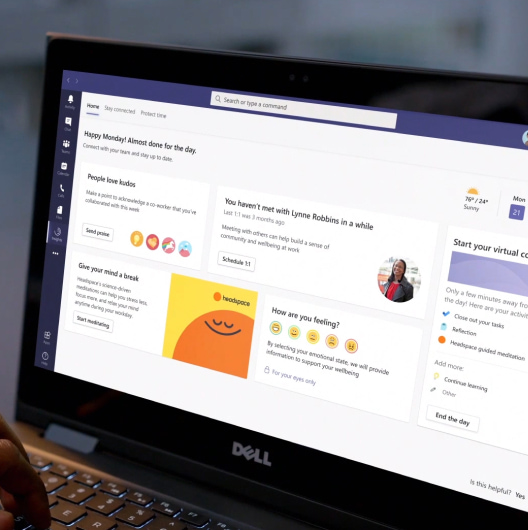 Microsoft Teams is on a laptops screen talking about wellbeing